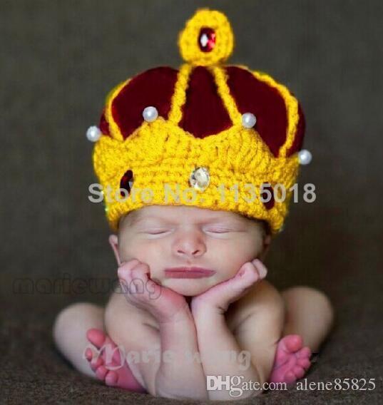 Hand strickender Hut PULLOVER Kinderphotographie Königskrone hatcotton Babyhüte