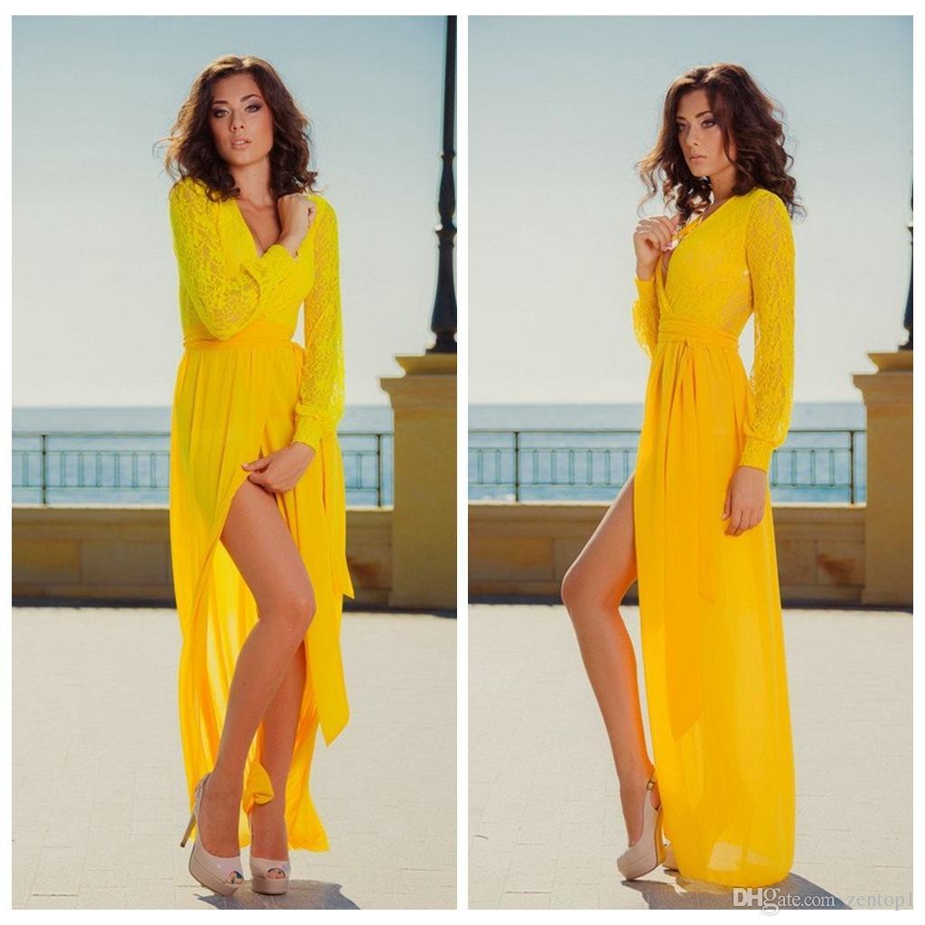 Deep v-neck maxi yellow dress