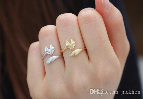30 шт.-R023 золото серебро регулируемая симпатичные Фокс кольца простой 3d животных Фокс лицо хвост кольцо крошечные витой обернуть Фокс кольца для женщин