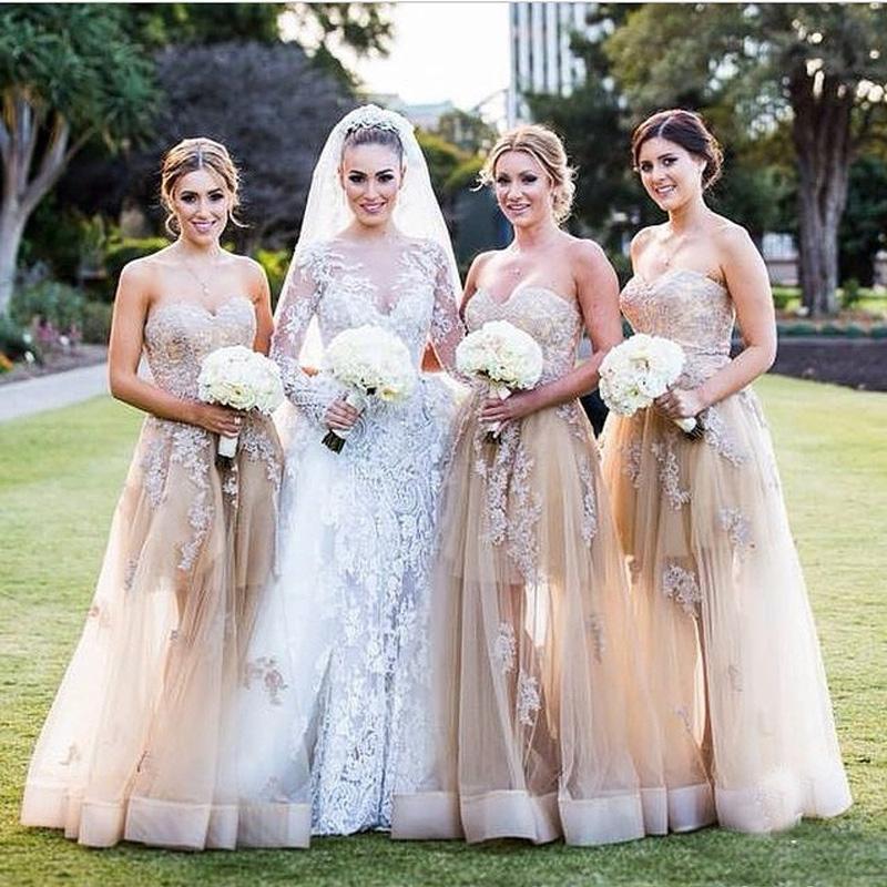 Vintage Champagne Bridesmaid Dresses A Line