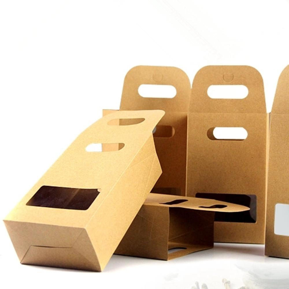 10.5*15+6cm Kraft Paper Tote Bag Gift Packing Box With Handle Clear Square Window Wedding Favor Candy Snack Food Storage Packaging Box