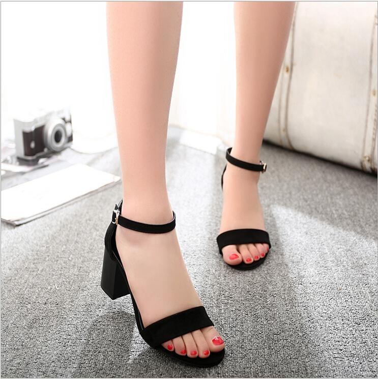 4f5394dcc07 2015 Summer New High Heels Sandals Korean Version Round Head Thunky ...