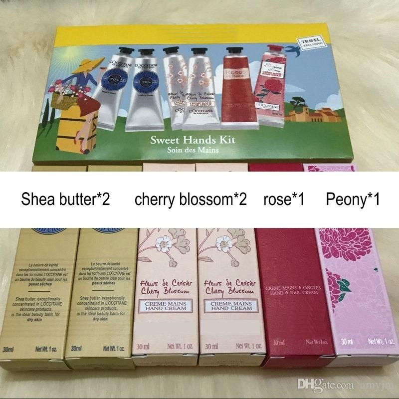 Famous Brand hands cream sweet hands kit soin des mains Butter+cherry blossom+Peony+rose =30ml/pcs mini hand lotions