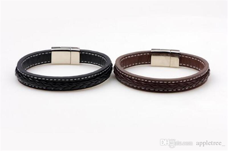 Mens Steel Leather Bracelet Black Brown Punk bracelets Men Bangles Wristband fashion Male Jewelry braided bangle wholesale
