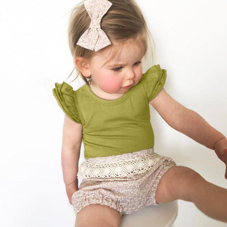 Ins neonata Onesies pagliaccetto tuta del Flutter manica Carino solido manica corta pagliaccetto All-abbinato 2019 Grossista