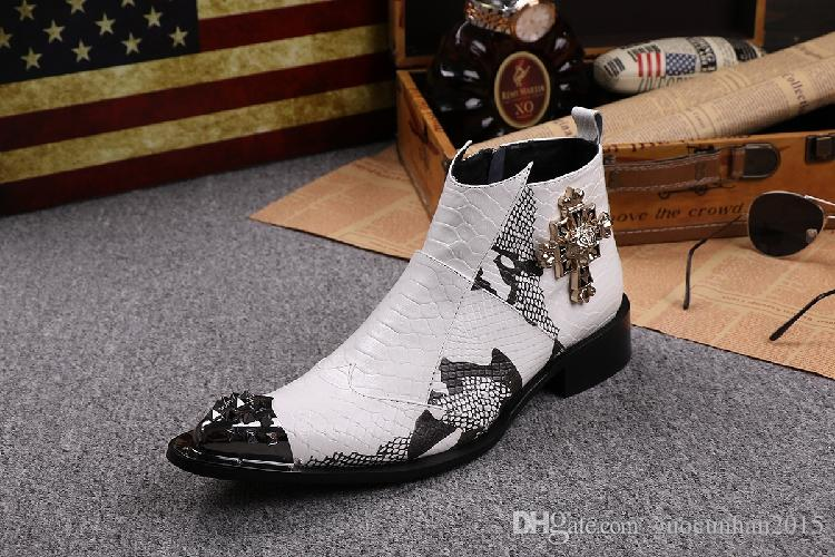White Man Ankle Boots Snake Fashion Pointed Toe Metal Toe Rivet Boots Party Motorcycle Boots Men Mixed Color Zip Crucifix Charm Shoes 37-46