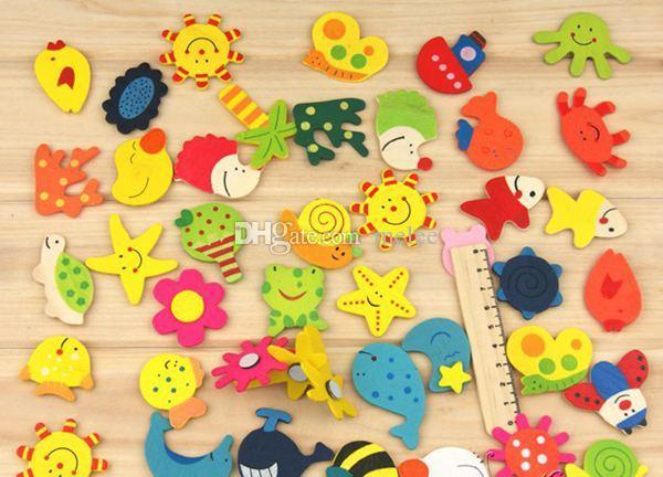 Freies Verschiffen 12 stücke ein Satz Bunte Tier Cartoon Kinder Baby Holz Cartoon Kühlschrankmagnet Kind Pädagogisches Spielzeug Lustige Kühlschrank MagnetsToys
