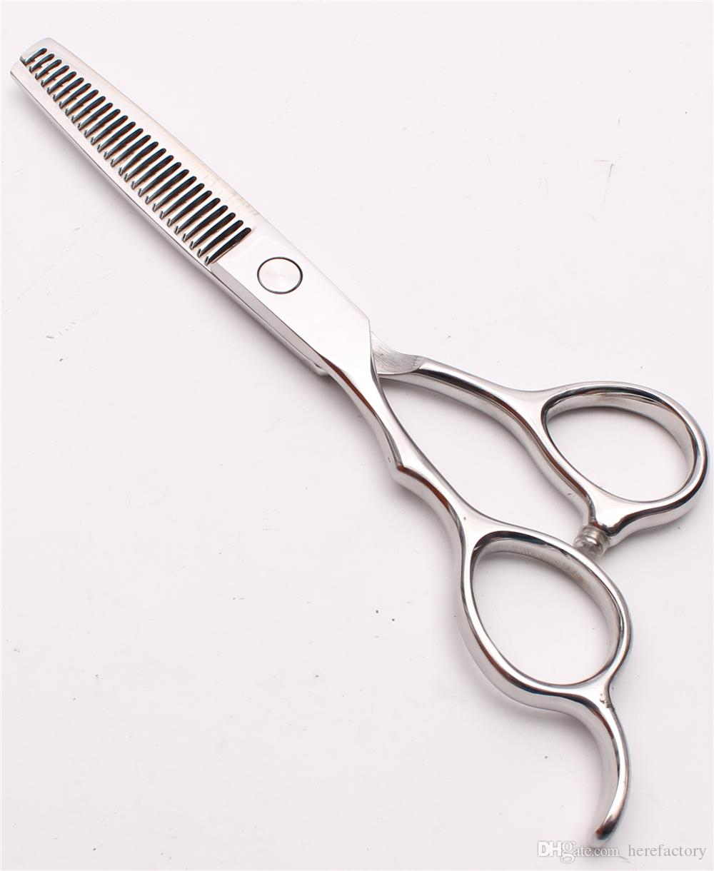 "C8000 6"" Japan 440C Customized Logo Silver Professional Human Hair Scissors Barbers' Cutting Thinning Shears Left Hand Scissors Style Tools"