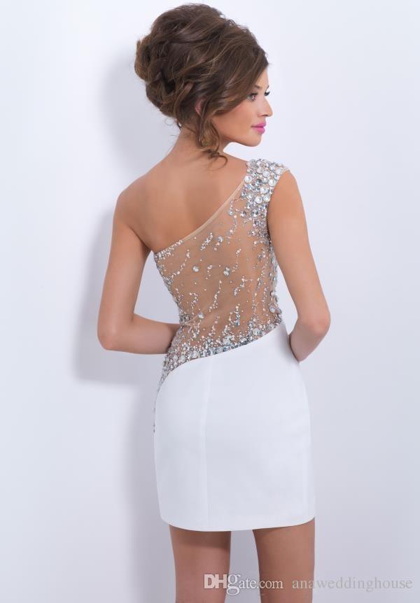 Eine Schulter Günstige Weiß Homecoming Kleider Sexy Durchsichtig Zurück Mit Kristall Perlen Pailletten Mini Short Prom Cocktailkleid