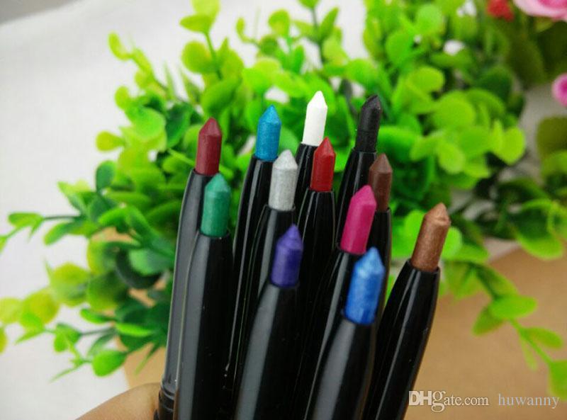 12 Renk Su geçirmez Göz Farı Eyeliner Glitter Eyeliner Kalemler Makyaj Dudak Kalemi Seti Suya Göz Kalemi Göz Farı Kalem 0026MU