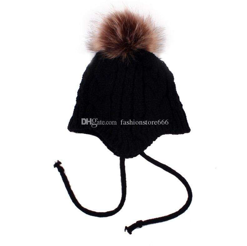 2017 Hats Winter Girls Fur Pom Pom Knitted Wool Kids Cap Warm Kids Toddler Beanie 5 Styles Christmas Best Gifts