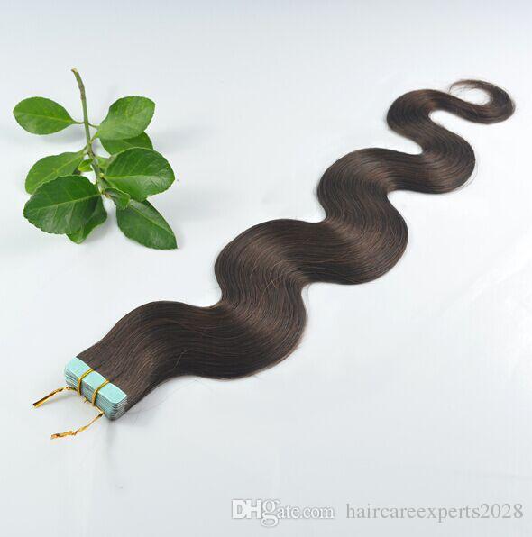 Prix usine bas, cheveux humains brésiliens vierges, 1B # Noir naturel 2.5g / pcs 50g / pack / pack / extensions de bande de cheveux ondulés corps