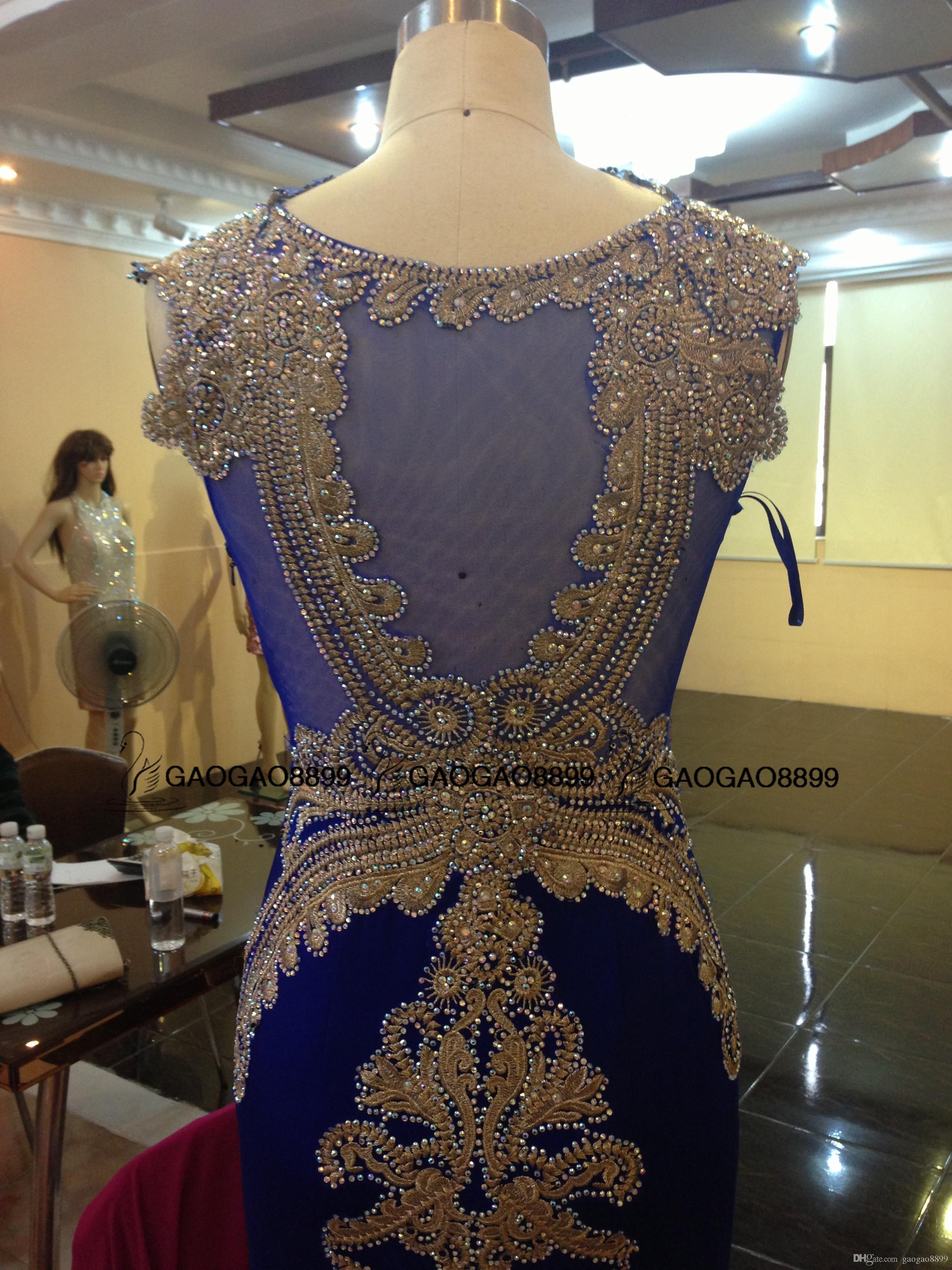 2019 로얄 블루 스파크 럭셔리 라인 석 인어 드레스 파티 저녁 착용 Zuhair Murad 맞춤형 댄스 파티 공식 가운