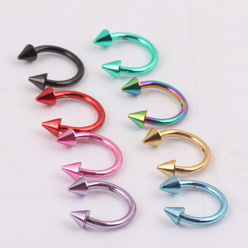 Nose pin N04 100pcs/lot mix 8colors 16G Cone Circulars Horseshoes Eyebrow Nose rings body piercing jewelry