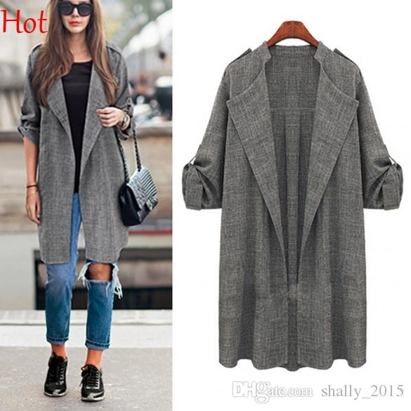 New 2015 Thin Plus Size Long Trench Coats Solid Casual Trench ...