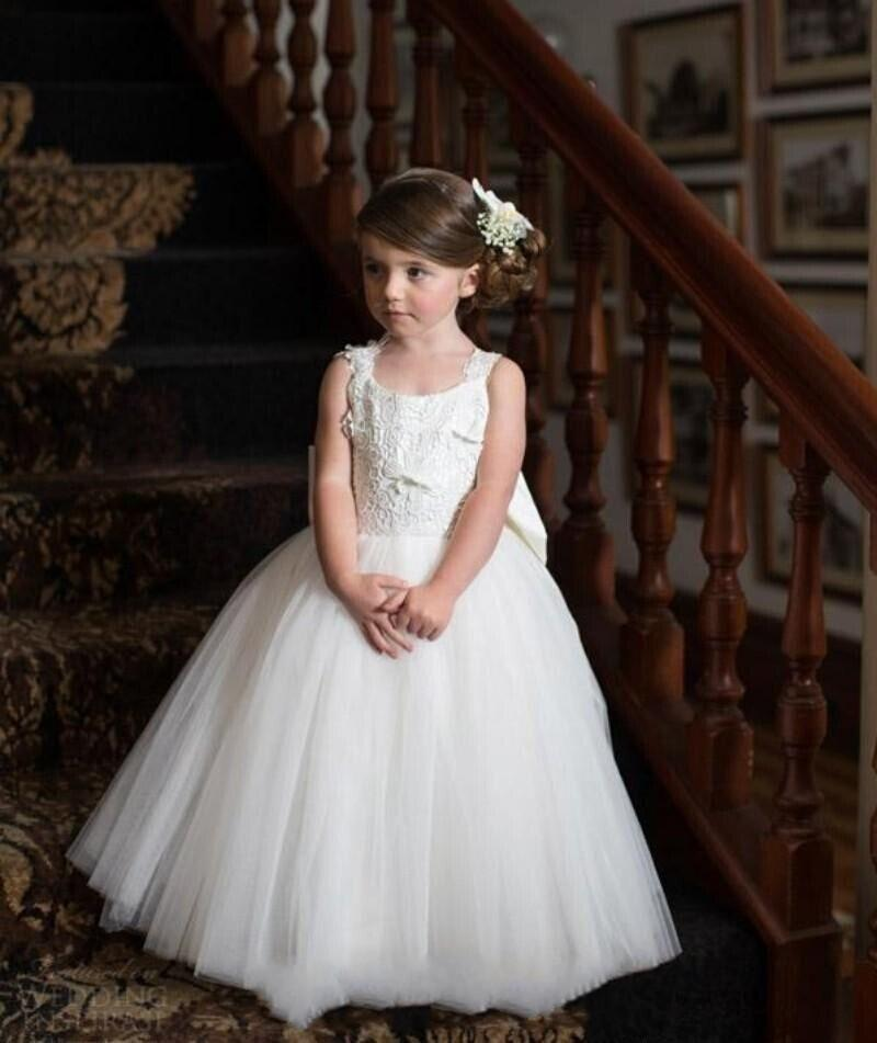 Cute White Tulles Princess Ball Gowns for Wedding Party Little Kids Flower Girls' Dresses Puffy Tulle Skirt Sleeveless Dancing Dresses