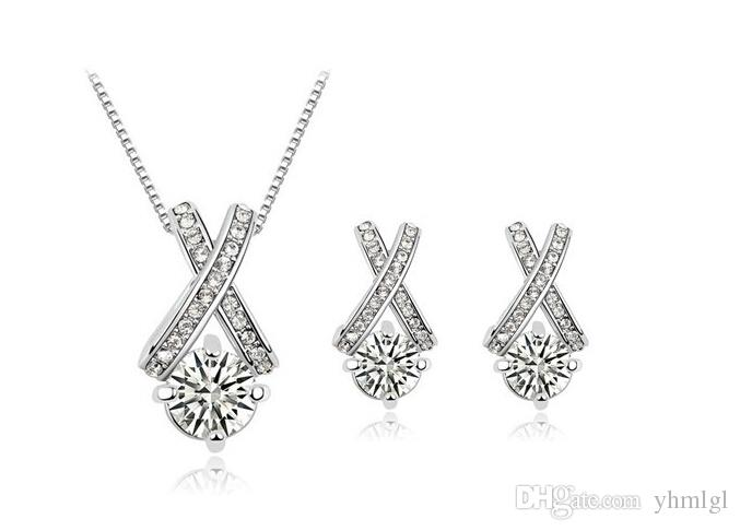 Moda Sekiz kalpler Ve Sekiz Oklar Rhinestone Zirkon Kristal Küpe Kolye Seti 18 K Altın Kaplama Kadınlar Takı setleri
