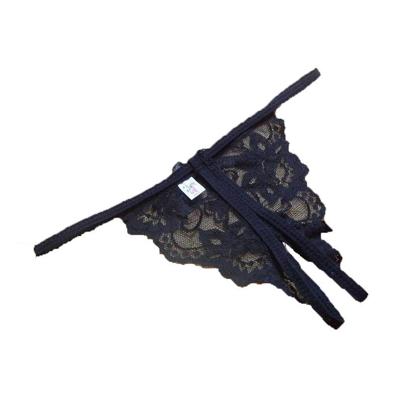 Women Sexy Lace Thong Panties Interior Open Fork Brief G-string Underwear Lady Bow Female T-back Panties Female Sexy