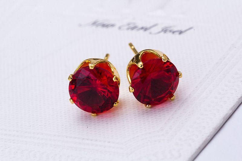 스터드 귀걸이 도매 패션 라운드 좋아하는 디자인 18 K 골드 도금 박힌 사탕 결정 CZ 다이아몬드 스터드 귀걸이