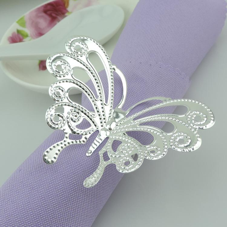 New arrival silver butterfly napkin rings metal wedding