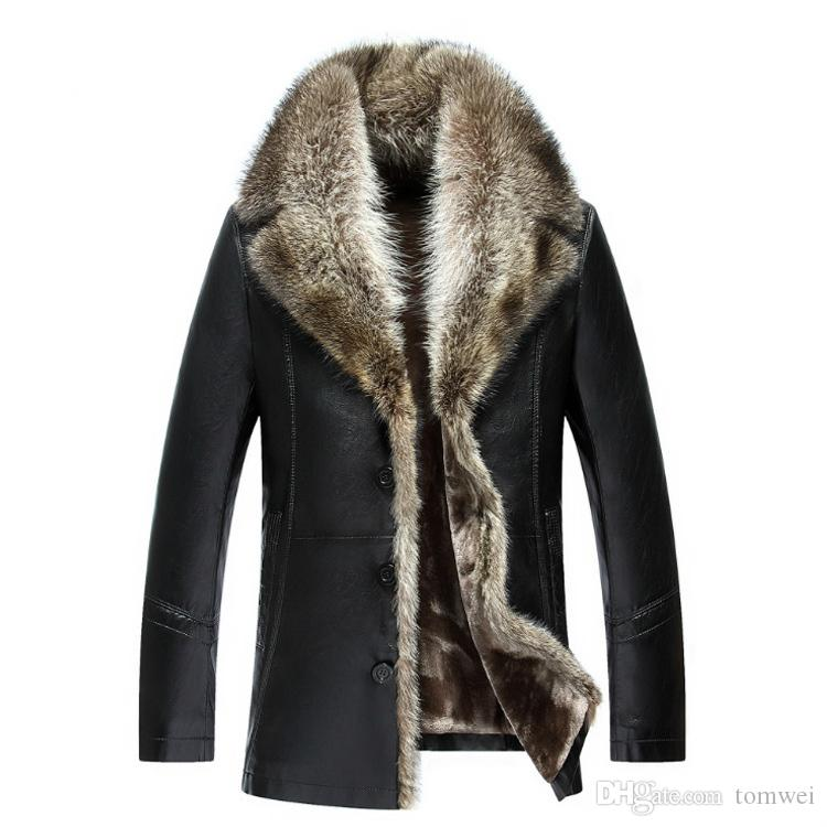 Mens Sheepskin Coats Winter Leather Jackets Real Raccoon Fur Collar Snow Overcoat Warm Thick Outwear High Quality Large Size 4XL