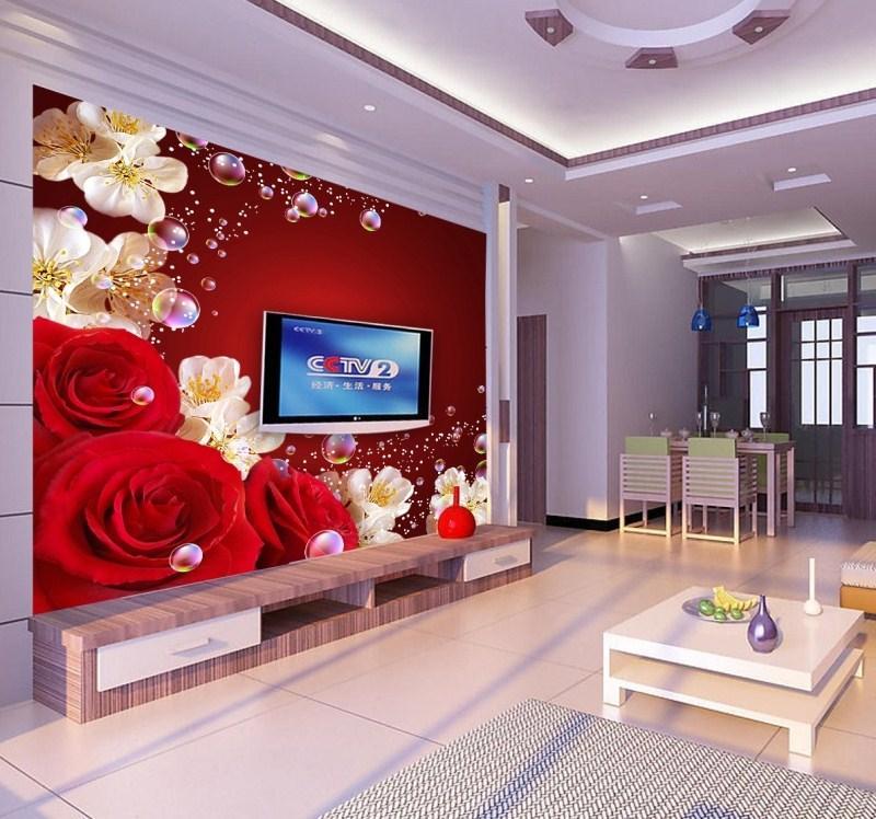 Living room red wallpaper living room for 3d rose wallpaper for bedroom