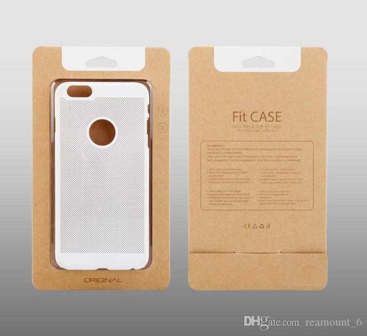 Customizse Logo Simple Kraft Paper With Transparent Plastic Packaging Box For Phone Case For iPhone 6 6plus Samsung No5 Note 7 s7 edge plus