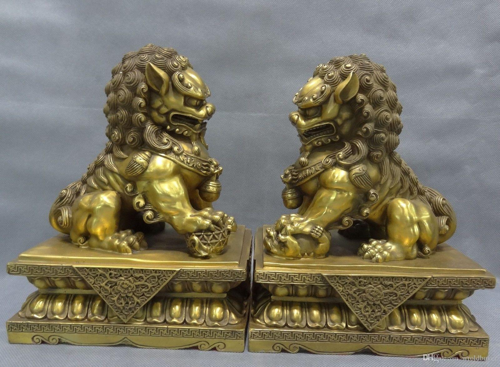"""10"""" Chinese Pure Brass FengShui Guard home's Foo Fu Dog Men Lion Statue Pair"""