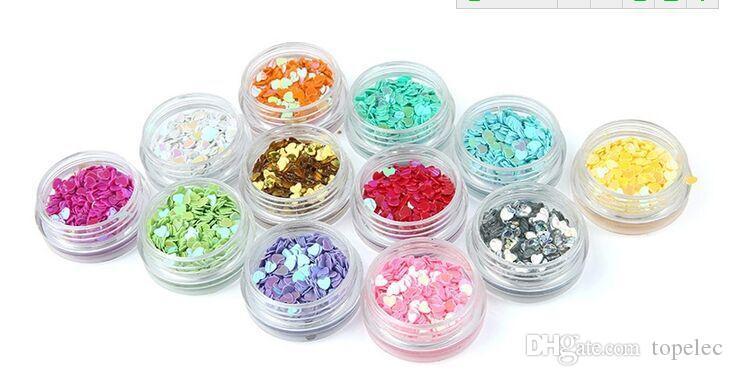 12 냄비 심장 네일 아트 반짝이 심장 모양 색종이 조각 스팽글 아크릴 팁 UV 젤 장식 수수료 DHL # 6811