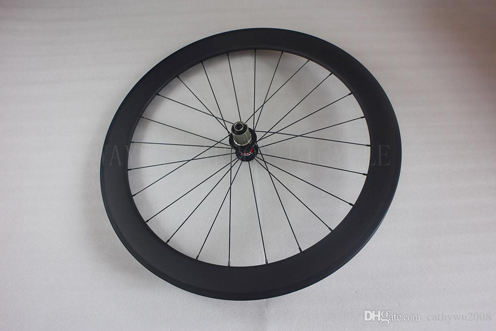 60mm clincher rear road bike wheel 24H 23mm width pillar super light aero spokes novatec F482SB hub basalt brake track carbon bicycle wheel