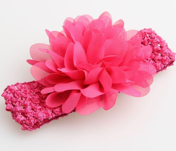 bébé Couvre-chef capitule Accessoires cheveux 4 pouces fleur en mousseline de soie avec serre-tête crochet élastique souple bande cheveux élastique GZ7409