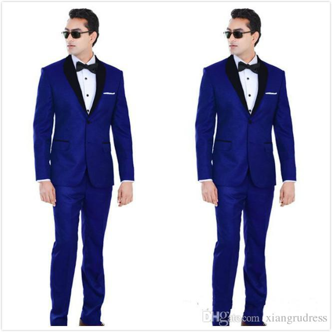 Custom Made Traditional Royal Blue Wedding Tuxedos For Groom Black Shawl Lapel Prom Suits Two Buttons Mens Suits Jacket+Pants