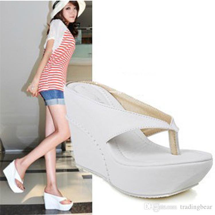 bda8f3391 Small Big Size Women Shoes Flip Flop Wedge Sandals Girls High Heel Wedge Shoes  Beach Sandals Size 34 To 40 42 43 44 45 Purple Shoes Cute Shoes From ...