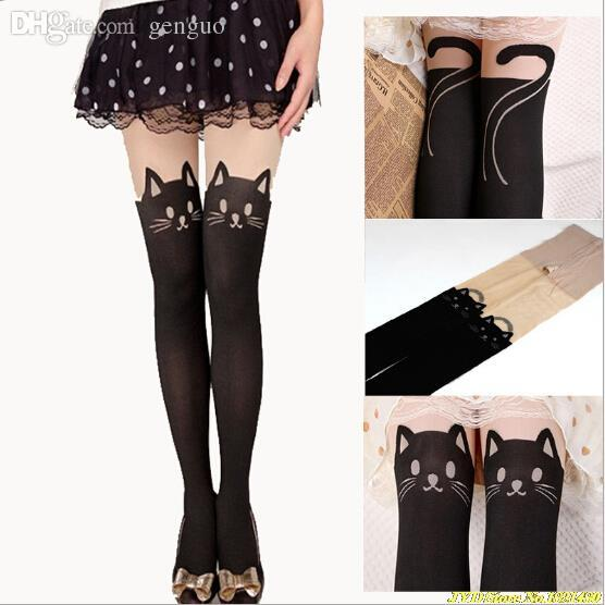 3a60f75bc920 2019 Wholesale Sexy Women Cat Tail Gipsy Mock Knee High Hosiery Pantyhose  Panty Hose Tattoo Tights Hot Selling From Genguo, $19.92 | DHgate.Com