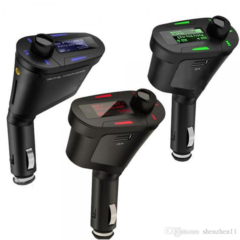 Kit de coche Reproductor de MP3 Modulador de transmisor de FM inalámbrico wma inalámbrico USB SD MMC LCD con control remoto Azul / luz roja DHL gratis OTH158