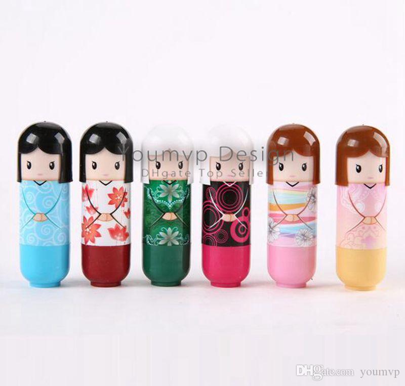 Увлажняющий бальзам для губ милый японский кукла бальзам для губ естественный завод удобные свежие фрукты пользу помады помады блеск для губ