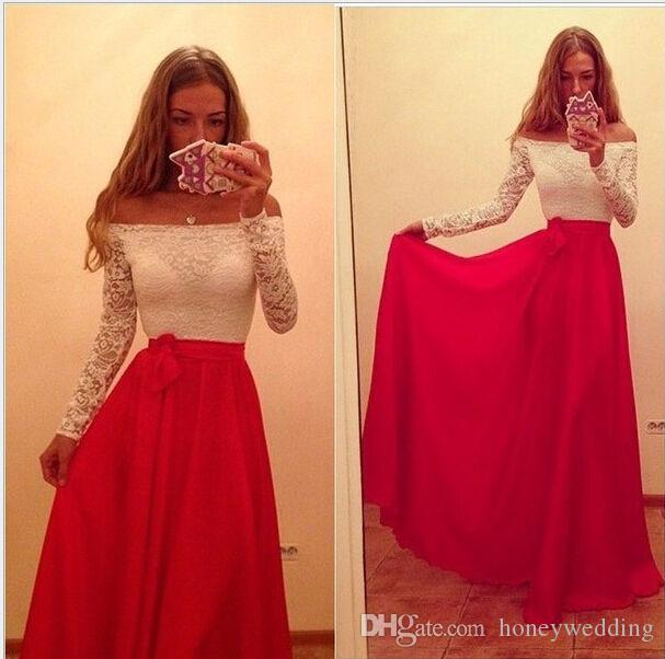 Long off shoulder prom dress