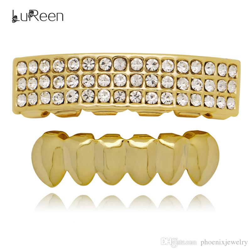 LuReen 14k Gold Silver Plated 3 Rows Iced Out Bar Teeth Grillz 6 Top and Bottom Grillz Set