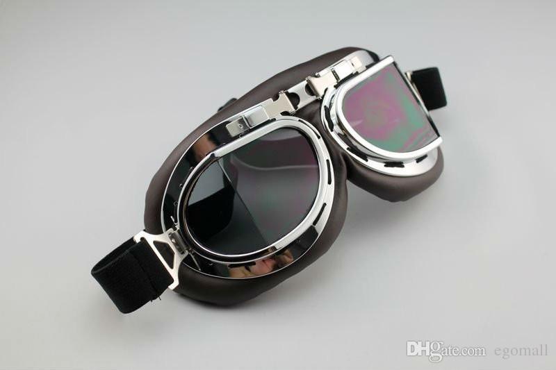 Aviator Pilot Cruiser Motosiklet Scooter ATV Gözlüğü Gözlük T08Y Beş Lens Temizle Duman Renkli gümüş Sarı