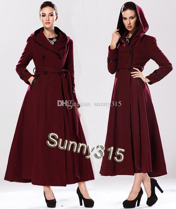 Elegant 2017 Sexy Plus Size Winter Coats Women Hooded Long Wool Coat Slim  Ankle Length Woolen Overcoat With Belt Size S-XL - Elegant 2017 Sexy Plus Size Winter Coats Women Hooded Long Wool