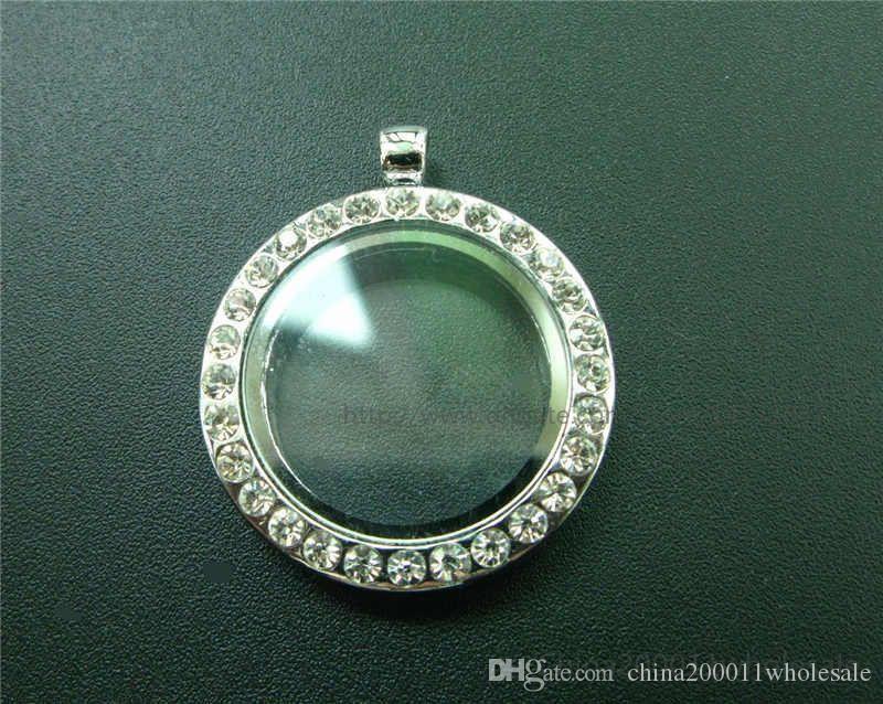 30mm Chrom Farbe Sparkle Runde Anhänger Living Floating Memory Glas Medaillon JK05-1