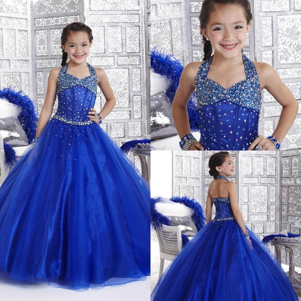 NOUVELLE GIRL PAGEANT ROBE 2021 Crystal Royal Blue avec fermeture à glissière Back Ruffled Flower Guiche De Princesse Robes Formel Robes pour fille