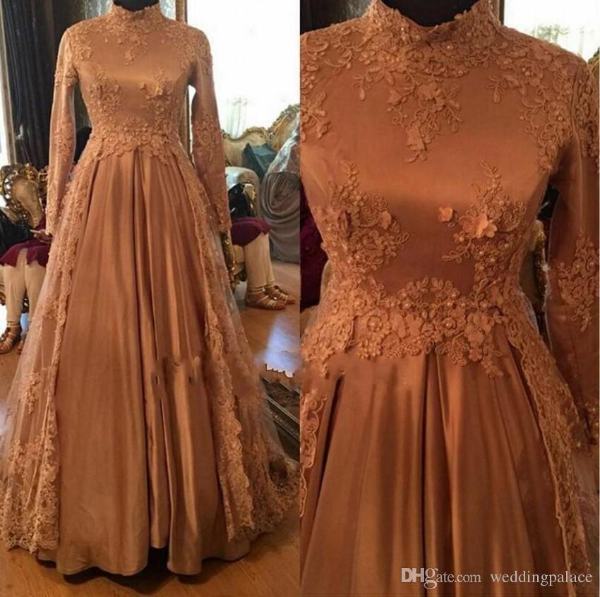 2018 dentelle Vintage arabe robes de mariée musulmanes col haut manches longues Appliques perles robes de mariée A-ligne satin robes de mariée