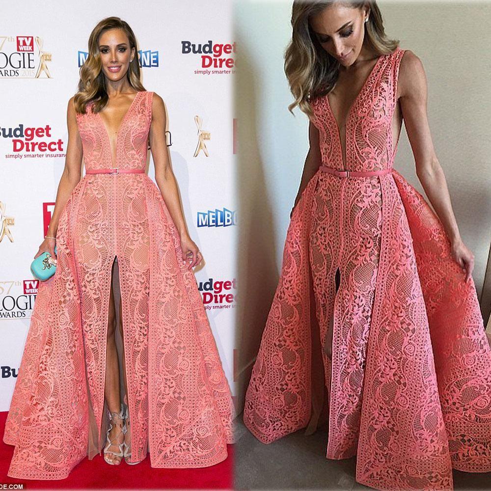 2016 Watermelon Evening Dresses A-line Deep V Neckline Front Split Floor Length Middle East Celebrity Party Dresses