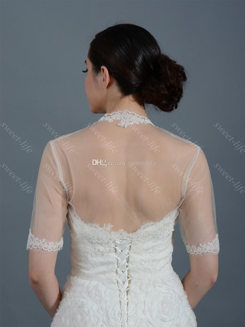 2019 Cheap Wedding Bridal Bolero Jacket Cap Wrap Shrug Ivory White Sheer Short Sleeve Applique Tulle Custom Made Jacket for Wedding Bride