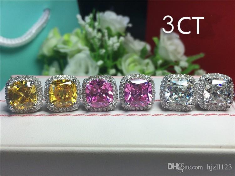 Parlak 6 karat / çifti pembe sentetik elmas düğün saplama küpe takı gelin için Prenses Kare kesim 18 K Beyaz Altın Kaplama