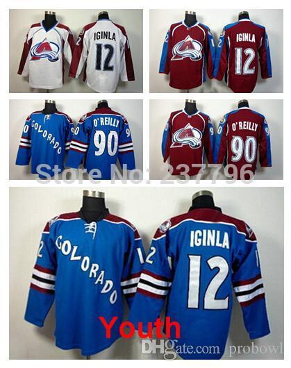 cd64d5e0b Youth Colorado Avalanche Jerseys  90 Ryan O Reilly  12 Jarome Iginla Jersey  Burgundy Maroon Red Blue White Ice Hockey Jersey Kid Kid Party Kids Giants  ...