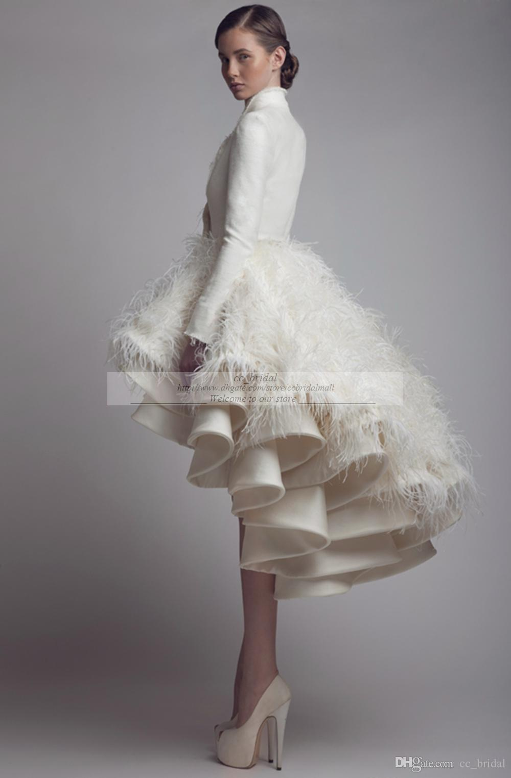 Designer Krikor Jabotian High Low Abiti da sposa Collo alto Ruffle Feather A Line Satin manica lunga Abiti da sposa Abiti da sposa taglie forti