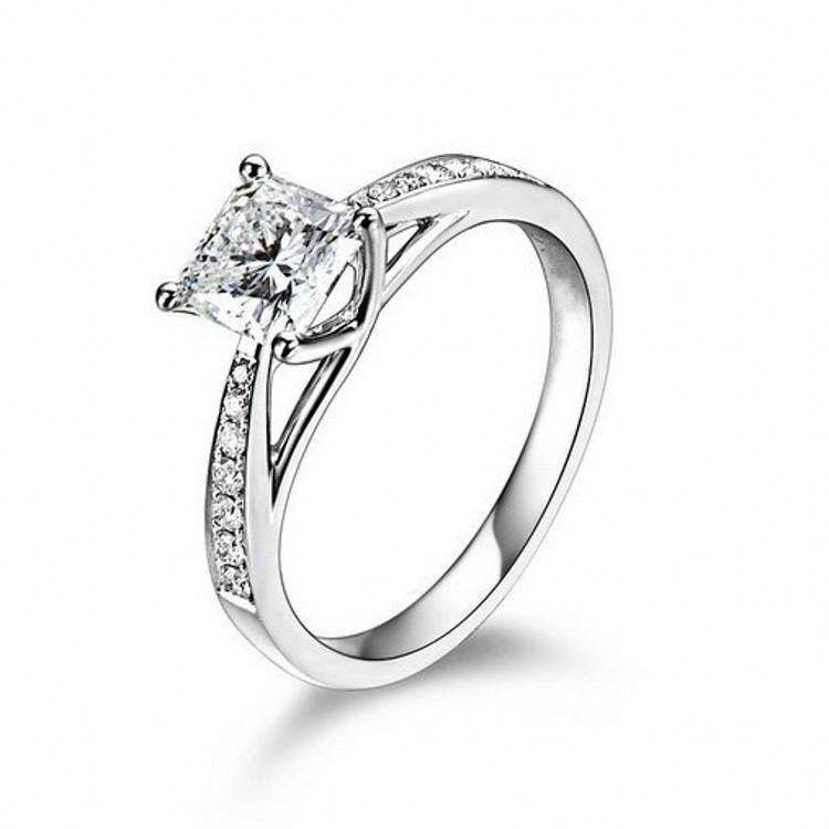 Dei monili dell'annata reale oro 14K genuino placcato 1 Ct SONA Lab anelli di diamante le donne Aneis de diamante di nozze anelli di fidanzamento