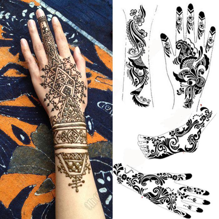 Mehndi henna tattoo stencil large black henna tattoo for for Where can i get a henna tattoo near me